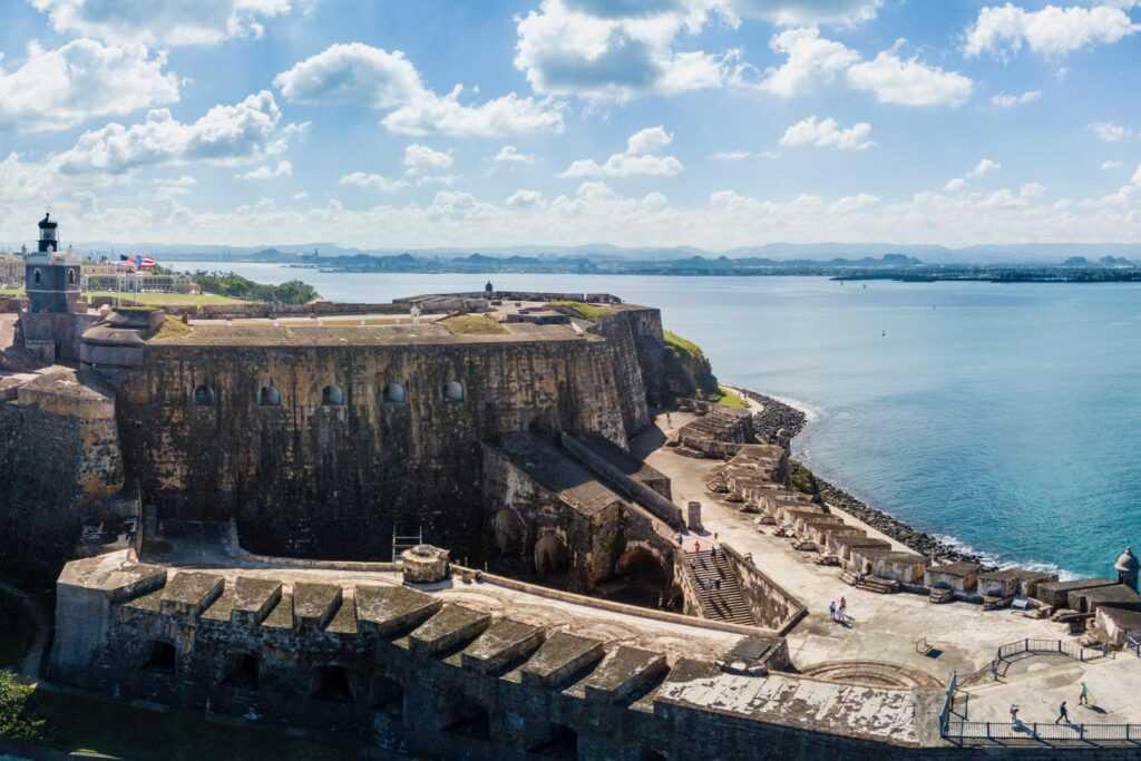 San Juan fortresses with kite flying at El Morro